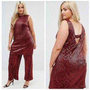 NWT ASOS x ELVI Wine Sequined Tunic Top to Dress